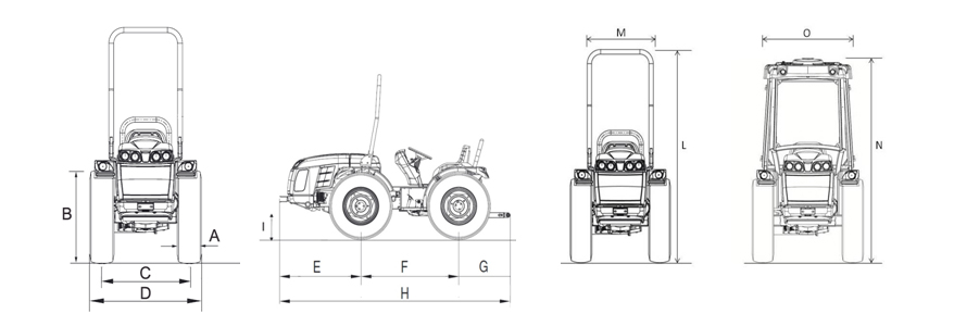 Tractor Invictus k600 cotas