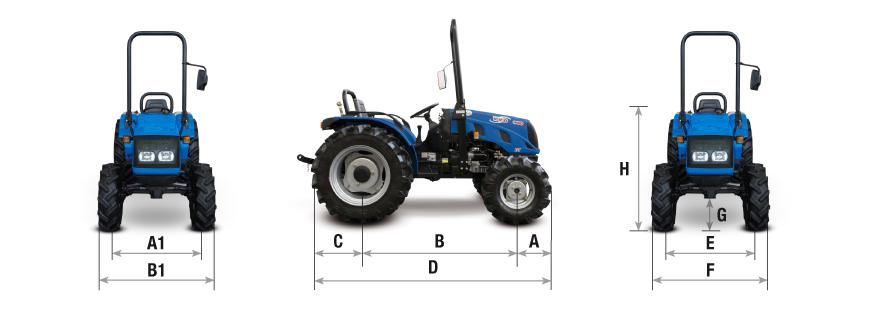 BCS tractor VIVID cotas y pesos