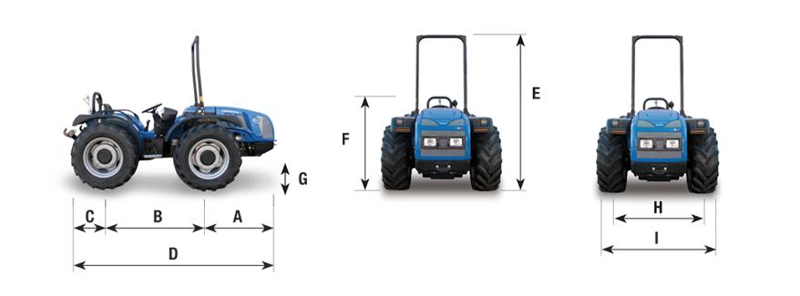 Cotas para el tractor Vithar 750-850-950 BCS