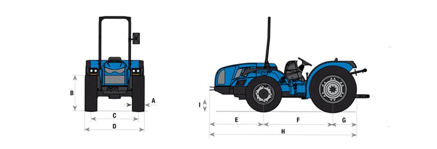 Cotas para el tractor Volcan 850-950 SDT BCS - 01