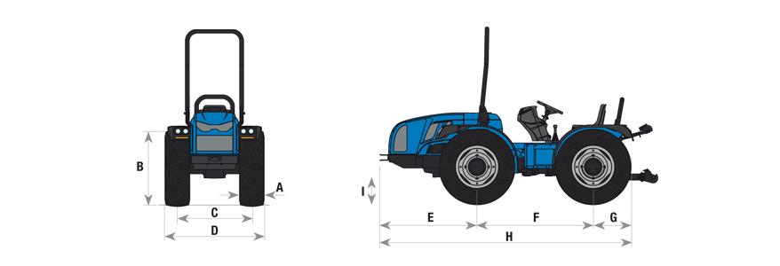 Cotas para el tractor Volcan 850-950 BCS