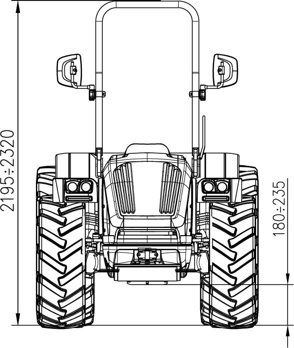 Tractor BCS Eagle SDT 85 DS dimensiones y pesos