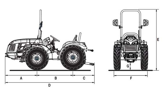 Dimensões e pesos do trator BCS Invictus K400 SDT rígido