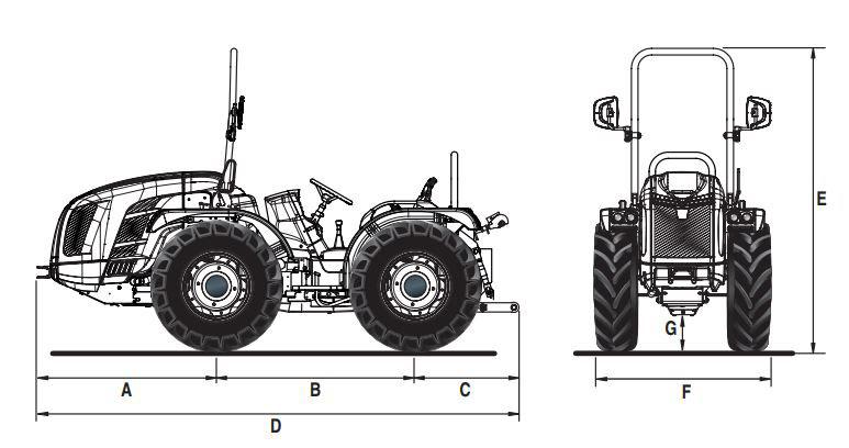 Dimensões e pesos trator BCS Vithar K105 rígido