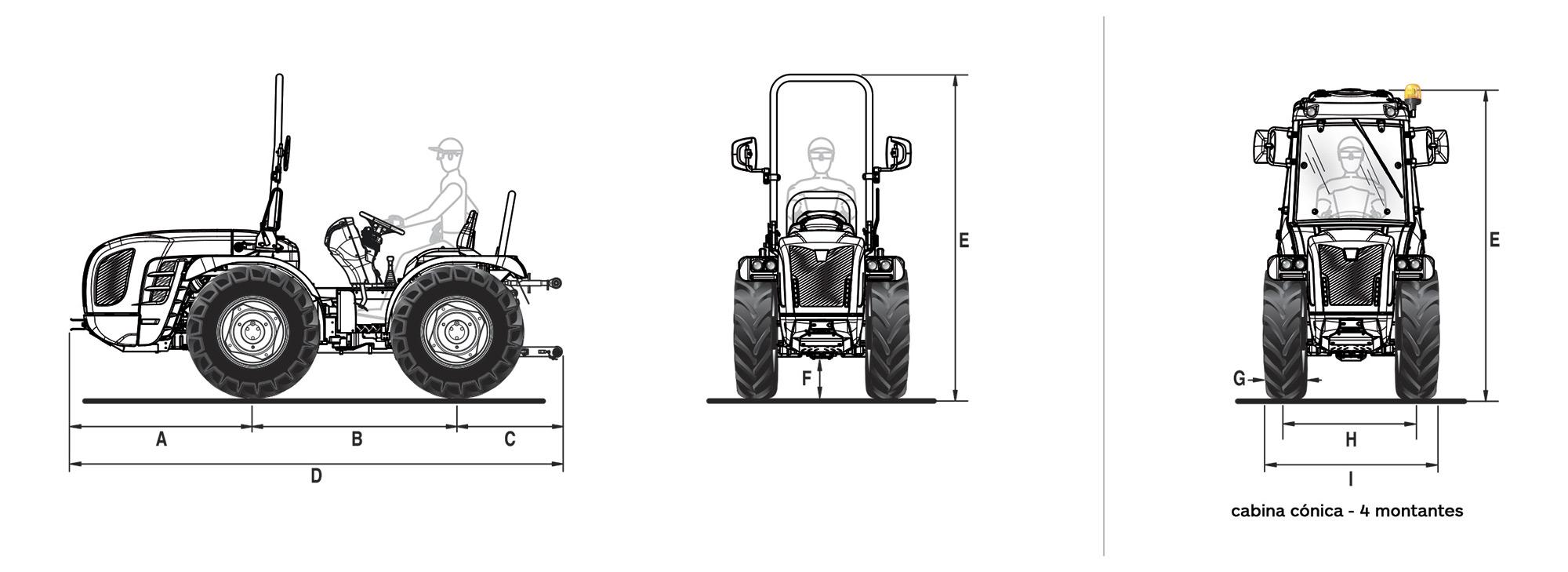 Dimensiones y pesos tractor BCS Vithar L80N articulado