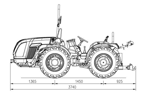 Dimensiones y pesos tractor Pasquali Mars 85 articulado