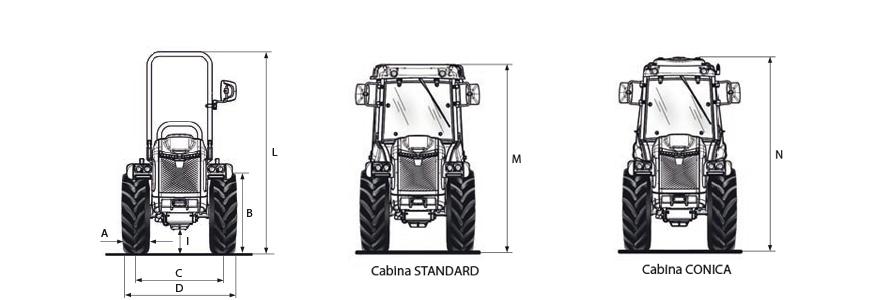Tractor BCS Volcan L80 articulado dimensiones y pesos