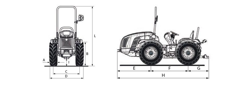 Dimensões e pesos do trator BCS Volcan L80 Dualsteer