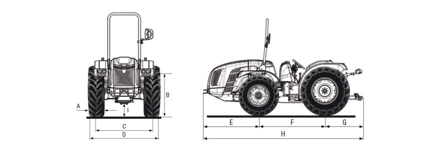 Dimensões e pesos do trator BCS Volcan L80 SDT rígido